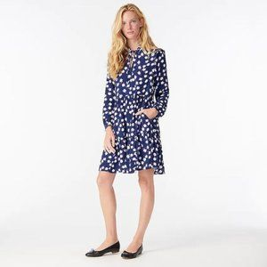 J Crew Tie-neck tiered dress in scattered peony
